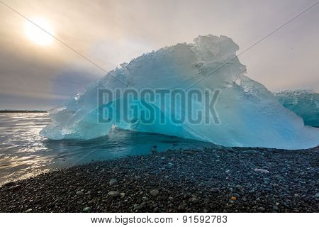 Iceberg beach at Jokulsarlon Iceland sunrise