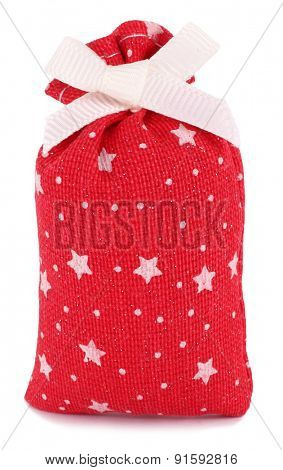 Gift sack cloth bag red with white stars