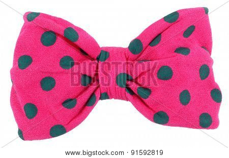 Hair bow tie pink with blue dots