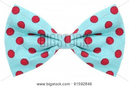 Hair bow tie turquoise blue with red dots