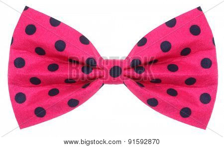 Hair bow tie pink with dark blue dots