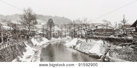 Panorama Snow fall Winter in Takayama Gifu Prefecture, Japan