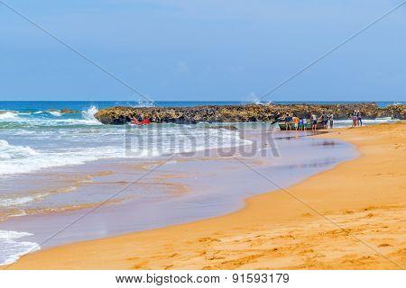 BEDDOUZA, MOROCCO, APRIL 6, 2015: Fishermen  go to sea in fishing boat