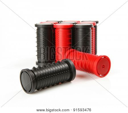 red and black hairdressing rollers