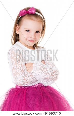 Portrait of a little girl with folded hands over white background