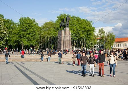 People Walking In Cathedral Square