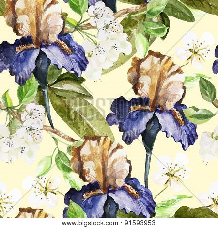 Seamless pattern with watercolor flowers. Iris.