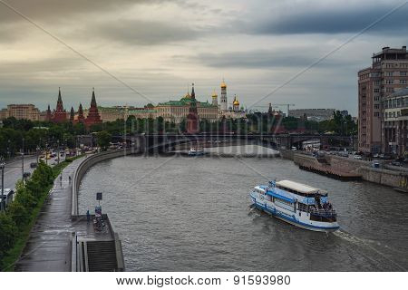 Aerial view of popular landmark - Kremlin in Moscow, Russia