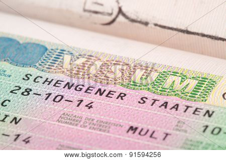 European Union Schengen Countries Visa In Passport - Close Up Shot
