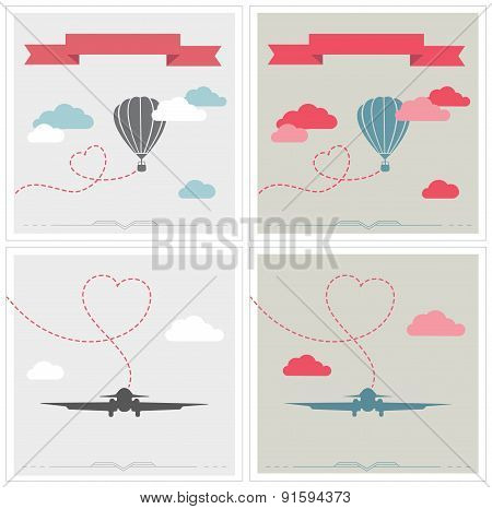 Set of retro cards with aerostat and plane flying in the clouds
