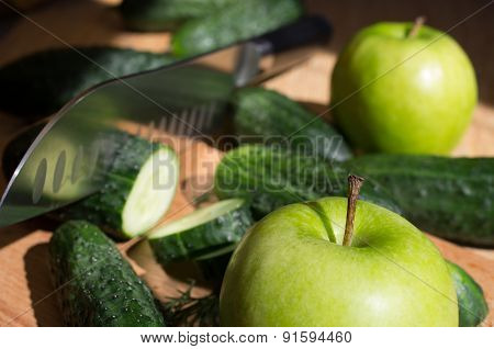 Cucumbers And Green Apple