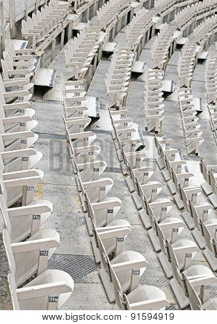 Empty Seats In The Stands Before The Sporting Event