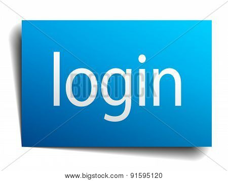 Login Blue Paper Sign On White Background