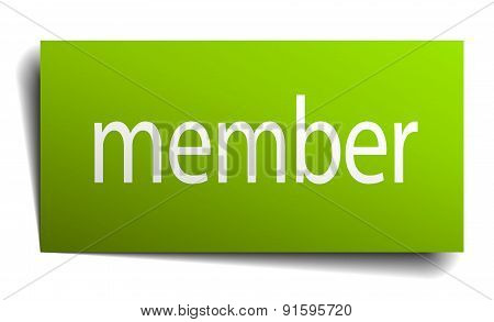 Member Green Paper Sign On White Background