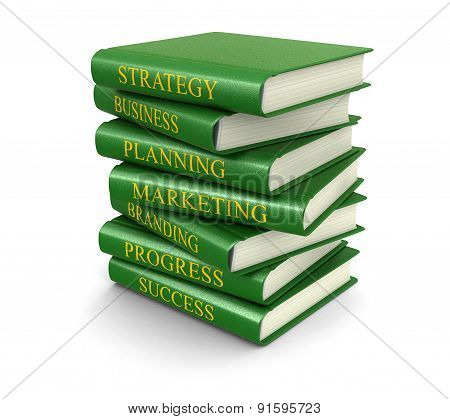 Stack of business books (clipping path included)