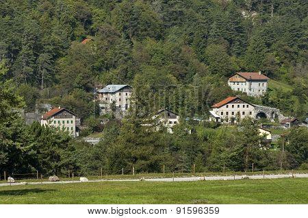 Mountain landscape in Italian Alps during autumn