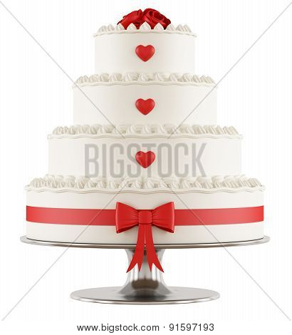 Wedding Cake On White