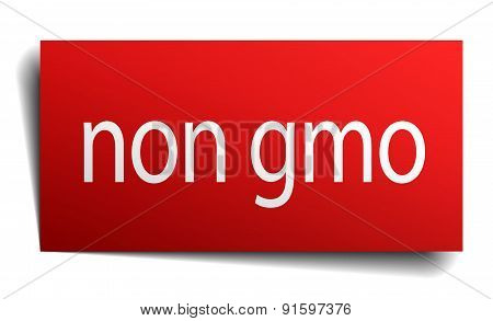 Non Gmo Red Square Isolated Paper Sign On White