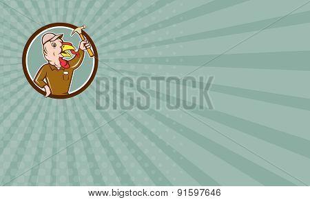 Business Card Turkey Builder Hammer Circle Cartoon