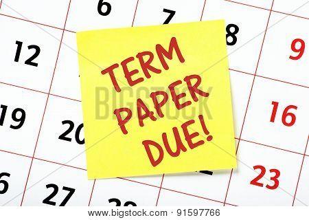 Term Paper Due!