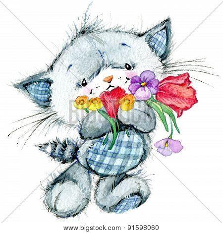 Funny kitten. watercolor illustration for kid background