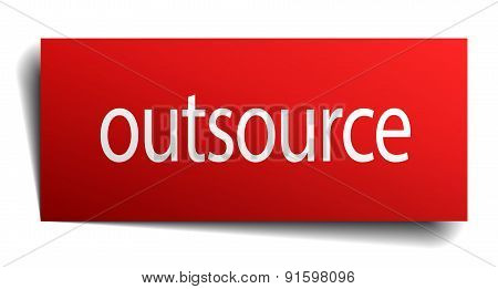 Outsource Red Square Isolated Paper Sign On White