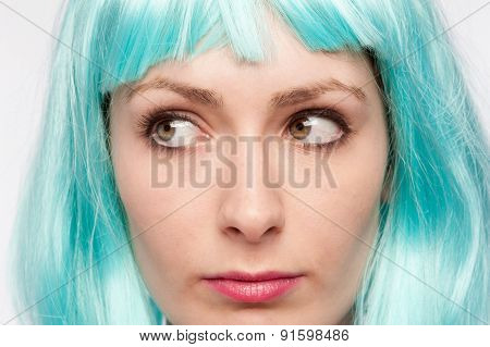 Strange Girl Expression With Colourful Wig.