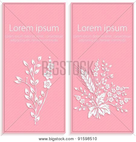 Invitation or wedding card with elegant floral paper cut elements. 3D elements with shadows and high