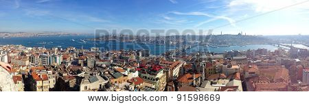 Panorama of the European part of Istanbul with Galata Tower