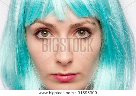 Staring Serious Girl With Crazy Wig