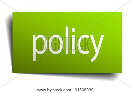 Policy Square Paper Sign Isolated On White