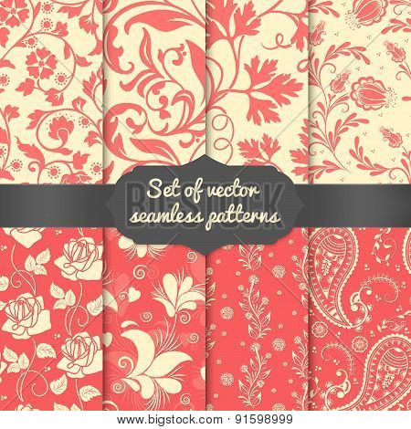 Set of vector flower seamless pattern elements.