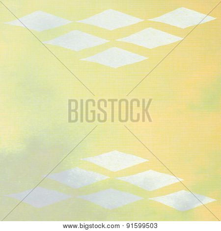 handmade ornament diamonds prints on yellow paper background - abstract graphic design