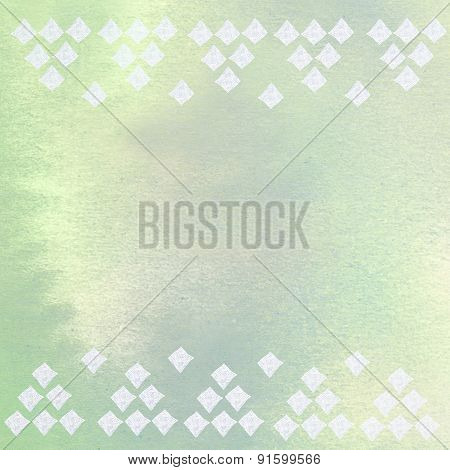 Handmade Ornament diamonds Prints On green Paper Background - Abstract Graphic Design