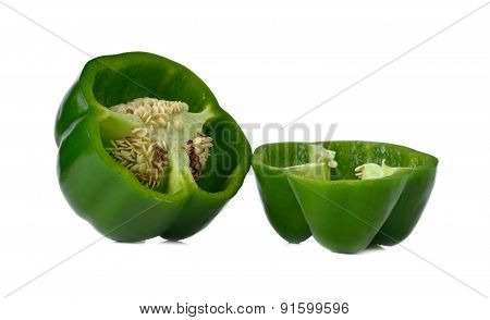 Greed Bell Pepper On White Background