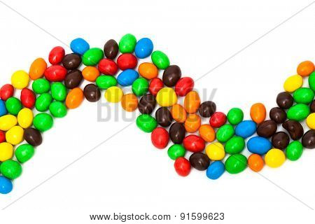 beautiful multi-colored candy on a white background