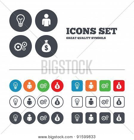 Business signs. Human and lamp bulb idea icons.