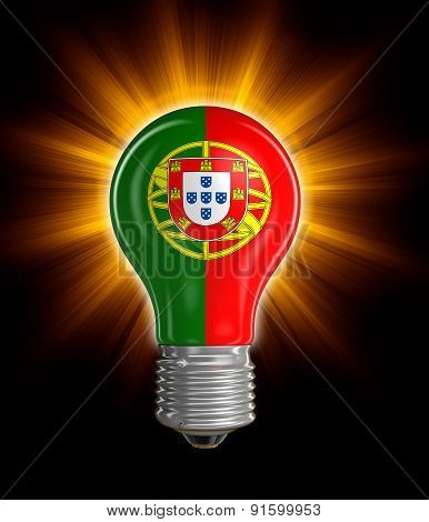 Light bulb with Portuguese flag (clipping path included)