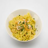 image of butterfly fish  - italian traditional pasta called butterflies with shrimp salmon and basil - JPG