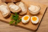 pic of butter-lettuce  - bread and butter egg greens and mayonnaise on a wooden board - JPG
