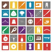 pic of welts  - Set of white flat sewing icons on colored squares - JPG