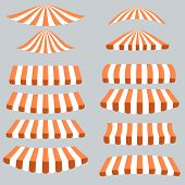 pic of canopy roof  - Orange White Tents Isolated on Grey Background - JPG