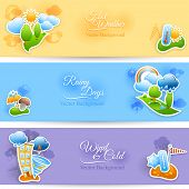 pic of rainy season  - Hot rainy and cold windy days seasonal weather background flat horizontal banners set abstract  isolated vector illustration - JPG