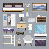 picture of flat-bed  - Bedroom furniture flat icons set with bed lamp armchair isolated vector illustration - JPG