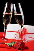 image of rose close up  - beautiful rose champagne and letter with ribbon close up - JPG