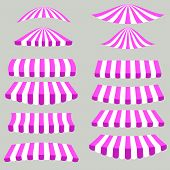 image of canopy roof  - Pink White Tents Isolated on Grey Background - JPG