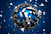 foto of sci-fi  - Abstract 3d rendering of low poly sphere with chaotic structure - JPG