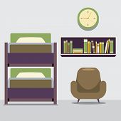 image of bunk-bed  - Empty Bunk Bed With Armchair And Bookcase Vector Illustration - JPG