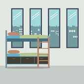 pic of bunk-bed  - Side View Of Bunk Bed With Four Glass Windows Vector Illustration - JPG
