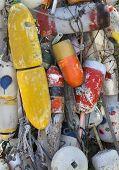 stock photo of martha  - Colorful buoys in Oak Bluffs on Martha - JPG